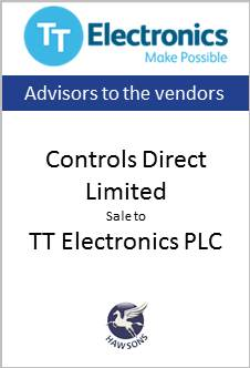 Deal Hawsons Controls Direct Limited sale to TT Electronics PLC