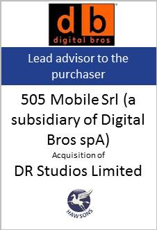 Deal: 505 Movile Srl aquires DR Studios Limited - Hawsons advises