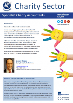 Charity Spring 2015 sector newsletter