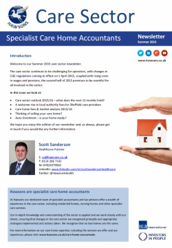 Care Home Summer 2015 sector newsletter