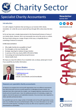 Charity Summer 2015 sector newsletter