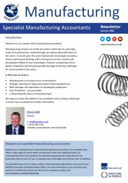 Manufacturing Summer 2015 sector newsletter