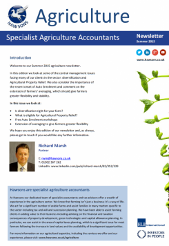 Agriculture Summer 2015 sector newsletter
