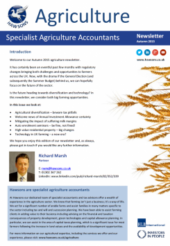 Agriculture Autumn 2015 sector newsletter