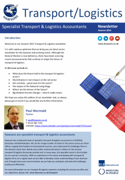 Transport & Logistics Autumn 2015 sector newsletter