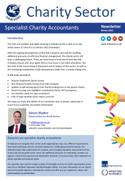 Charity Winter 2015 sector newsletter