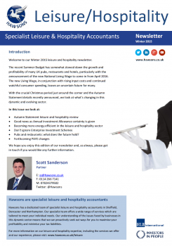 Leisure & Hospitality Winter 2015 sector newsletter