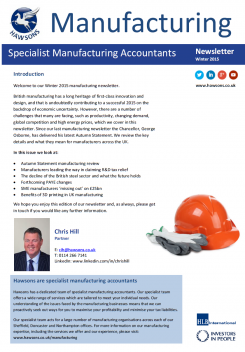 Manufacturing Winter 2015 sector newsletter