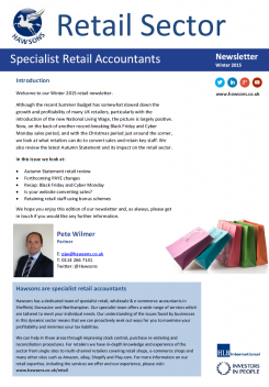 Retail Winter 2015 sector newsletter