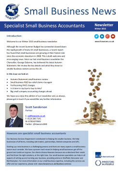 SME Winter 2015 sector newsletter