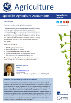 Agriculture Spring 2016 sector newsletter