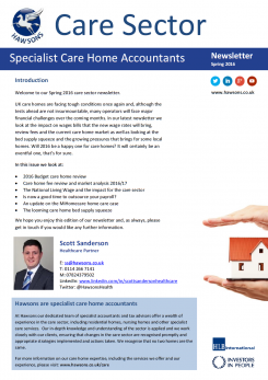 Care Home Spring 2016 sector newsletter