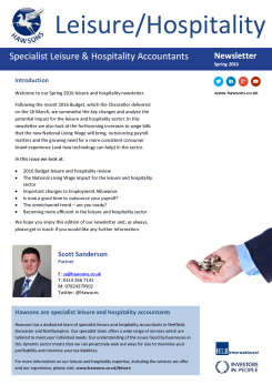 Leisure and Hospitality Spring 2016 sector newsletter