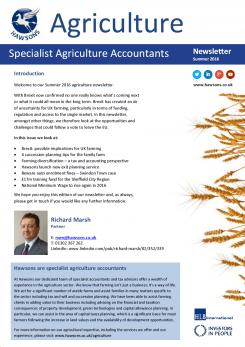 Agriculture Summer 2016 sector newsletter