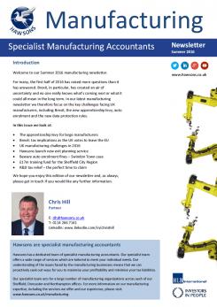 Manufacturing Summer 2016 sector newsletter