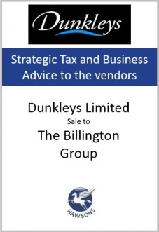 Dunkleys sale to The Billington Group